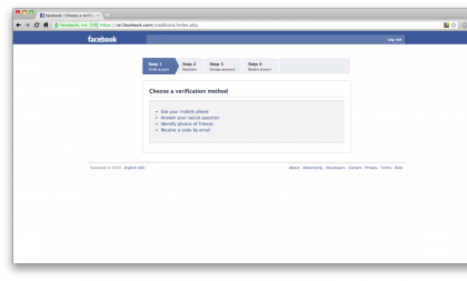 Facebook give you a few options to prove your identity